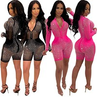 Women Sexy Long Sleeve Beading Mesh Zipper Jumpsuit Romper