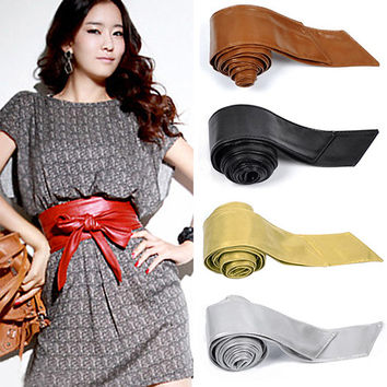 Women's Faux Leather Bowknot Corset Tie Cinch Waist Belt
