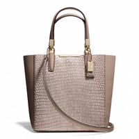 MADISON MINI NORTH/SOUTH BONDED TOTE IN LIZARD EMBOSSED LEATHER