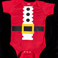 Custom Baby Onesuit One Piece Bodysuit Santa Suit Christmas - Holiday Party Red