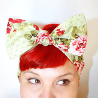 Vintage Inspired Head Scarf, Bow Style, Red Roses, Sage Dots, Vintage, Rockabilly, Retro, 1940s, 1950s