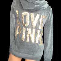 New Victoria's Secret LOVE PINK Velour Bling Gold Sequin Graphic Logo Hoodie M