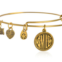 "Alex and Ani  style ""smile"" word pattern pendant charm bracelet,a perfect gift !"