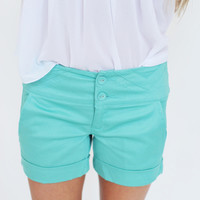 Cuffed Shorts- Turquoise