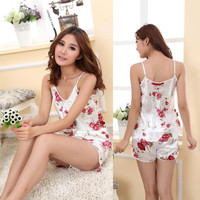 Women Sexy Sleepwear Sets Print Spaghetti Strap+Shorts Sexy Women Sexy Costume Sleepwear Nightwear