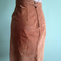Suede Leather Skirt, Cognac Brown Above the Knee Straight Skirt, High Waisted Boho Hippie Festival Pencil Skirt, Made in Canada, Size S US 6
