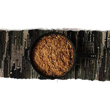 Camouflage Table Runner Military Army Green Brown Tan Black Rustic Camo Cabin Artisan Knitted Upcycled TShirts 12x36 --US Shipping Included