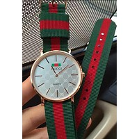 GUCCI Fashion Women Men Delicate Red Green Stripe Weave Watch Couple Wrist Watch White I-YY-ZT