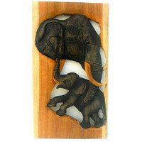 """Handmade Teak  Wood Carving Elephant With Baby Wall Hanging Art Decor Wooden Elephant Wood Carved / Gift 11.75""""X 7"""""""