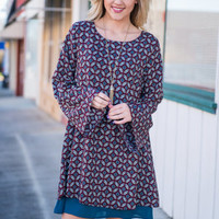 Preciously Printed Dress, Burgundy