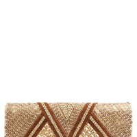 AK Brown Gold Matte Sequins and Bead Foldover Clutch and shop Handbags at MakeMeChic.com