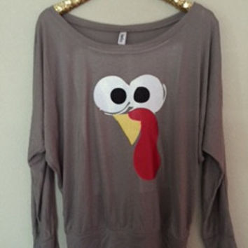 Turkey Long Sleeve Shirt  - Thanksgiving Shirt - Holiday Shirt - Ruffles with Love - Racerback Tank - Womens Fitness - Workout Clothing
