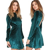New Spring Winter Fashion Women Clothing Robe Sexy Party  Dresses Back Hollow Out Velvet Long Sleeve Mini A-Line Dress Vestidos