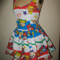 Custom Made to order RugRats Angelica, Tommy, Chucky and Spike Colorful 90s SweetHeart Ruffled Halter Mini Dress
