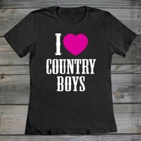 Country Girl ® I Heart Country Boys Fashion Fit T-Shirt - Country Fashion Clothing