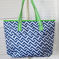 Nautical Tide Insulated Cooler Tote Bag