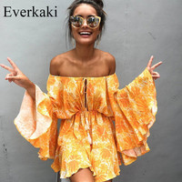 Women's Awesome BOHO Flowy Bell Sleeve Off the Shoulder Ruffles Shorts Romper