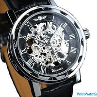 Mens Watch Steampunk Wrist Mechanical Watch Leather Gold - Anniversary Gifts for Men,Black Mens Watch, Steampunk Mechanical Men Watch,WRS043