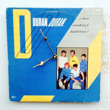 Clock, Record Clock, Record Cover Art Clock, Wall Clock, Duran Duran Record Cover, Recycled, Upcycled Gift Item #62