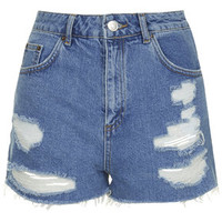 MOTO Vintage Ripped Mom Shorts - Bleach Stone