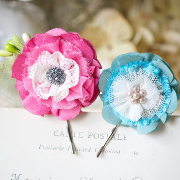 Floral Hair Pins - Pink and Turquoise Blossoms