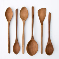 One of a Kind Hand Carved Wooden Spoons / Kitchen Utensils / Edition 10 Pear Wood No 073-078