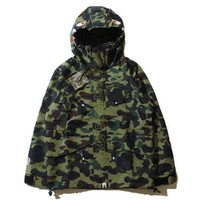 ca spbest Japan A Bathing Ape Camo Hoodie Zip Shark Jaw Camouflage Windbreaker Jacket Coat