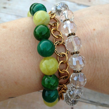 3 Strand Green and Yellow Beaded Bracelet, Brass Circle Link Chain Crystals