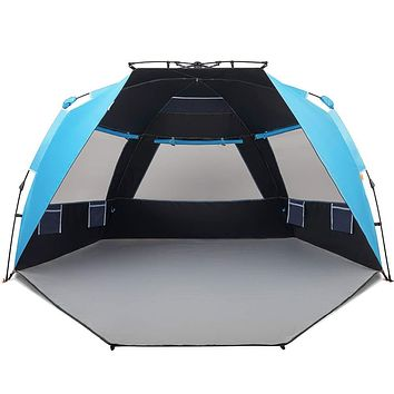 Easthills Outdoors Instant Shader Dark Shelter Deluxe XL Easy Up 4 Person Beach Tent Sun Shelter UPF 50+ with Extended Zippered Porch Pacific Blue