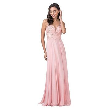 A-Line Long Formal Dress with Beads and Appliques Blush