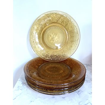 Set of Six Mid-Century Depression Glass Plates