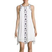 Hint of Mint Sleeveless Embroidered Gauze Dress- Juniors