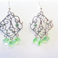Swarovski Chandelier Earrings - Swarovski Elements - Green Crystal Earrings - Silver Chandelier Earrings - Christmas Gift - Womens Jewelry