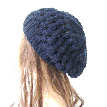 School Girl Knit Hat  Beehive beret  in  Navy Blue  Womens Hat  Slouchy Beanie Beret  Fall Autumn  Winter Accessories fashion  Christmas