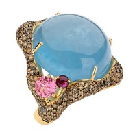 Brumani 18K Gold, Diamond & Aquamarine Cocktail Ring