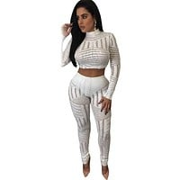 2016 New Autumn Women's Sexy Red Black Gold White Sequins Overall Two Pieces Pants Set LGY62044