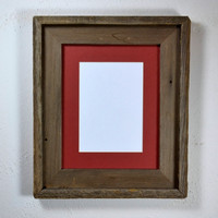 Rustic 8x10 wood photo frame with 5x7 or 8x6 mat