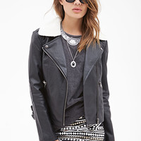 FOREVER 21 Faux Shearling Bomber Jacket