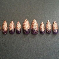 One set of Gold glitter purple gradient Medium Press on Stiletto Nails