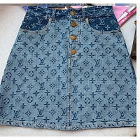 LV New fashion monogram print skirt women blue