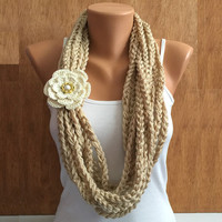 buff color hand crochet chain Infinity scarf with flower brooch pin