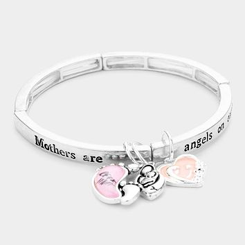 Mothers Are Angels On Earth Message Charm Stretch Bracelet