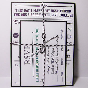 Rustic Vintage Wedding Invitation Suite Tied with Twine