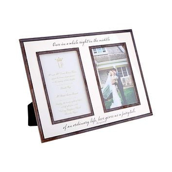 """Once In A While Life Gives You A Fairytale, Double 5""""x 7"""" Copper & Glass Photo Frame"""