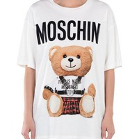"Hot Sale Moschino ""Braces Bear"" Fashion Women T Shirt Loose Short Sleeves"