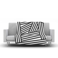 "Louise Machado ""Black Stripes"" Fleece Throw Blanket - Outlet Item"