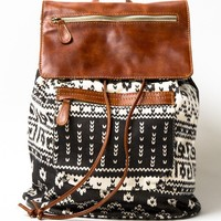 Tribal leather flap backpack