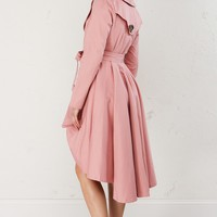High Low Trench Coat in Blush