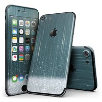 Scratched Teal and White Surface with Silver Sparkle - 4-Piece Skin Kit for the iPhone 7 or 7 Plus