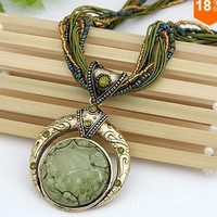 New Vintage Women Men Jewelry Bohemia Alloy Crystal Elastic Statement Necklaces & Pendant = 1668786884